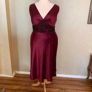 Burgundy beaded evening dress, satin. Beautiful!